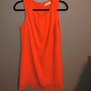 Neon Orange Scalloped Cut Out Dress